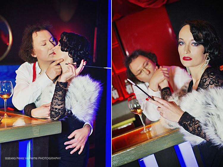 para, bar stylizacja na lata 20te XIX wieku, sesja parnterska, kobieta i mężczyzna