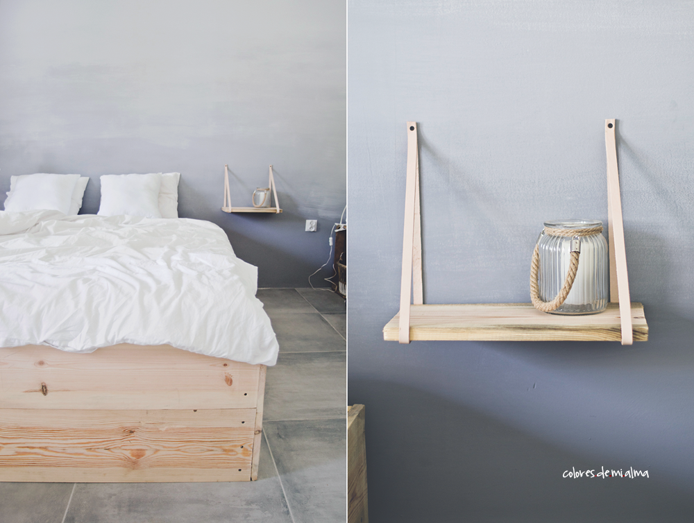 bedroom, wood bed diy, ombre wall, leather night table