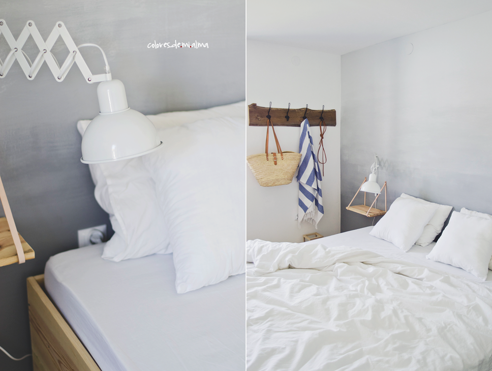wood bed DIY , ombre wall , white lamp