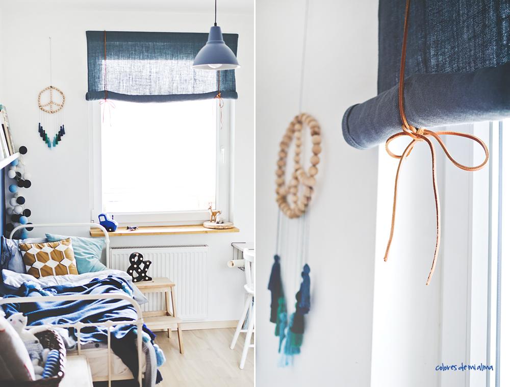 rolety DIY , materiałowe rolety zrób to sam, rolety z rzemykami, rolety okienne